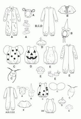 Patrones disfraz mariquita, calabaza, pato, bruja, conejo, hada y abeja para bebe