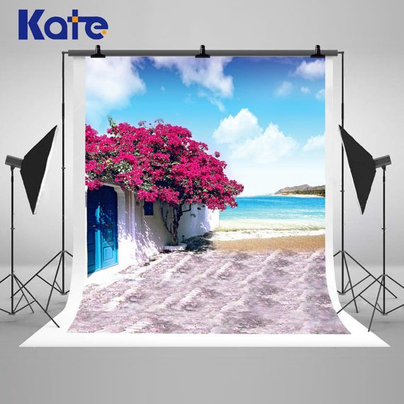 Seaside Flowers and Sea Photography Backdrops Beach House Photo Backgrounds for Romatic Wedding Studio Props