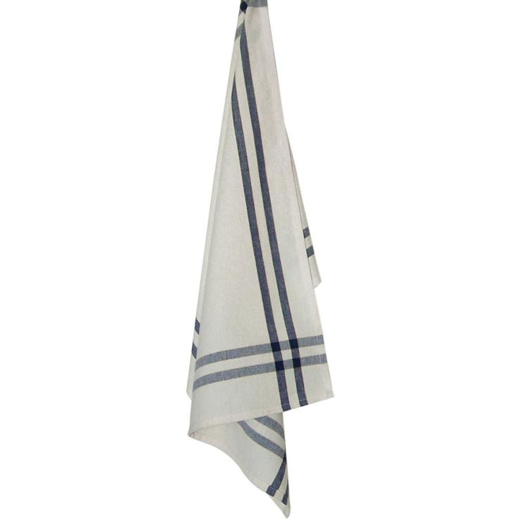 "Cream Tea Towel 20""X28""-Navy Stripe"