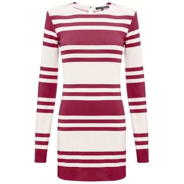 French Connection Jag Stripe Long Sleeve Dress ($25) ❤ liked on Polyvore featuring dresses, black classic cream, vestidos, long-sleeve maxi dress, long sleeve cotton dress, fitted dresses, day to night dresses and striped cotton dress