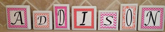 wood letter blocks, personalized/custom baby name letters, baby gift, girl nursery decor, name letters, kid /child wall art, pink, orange on Etsy, $9.00