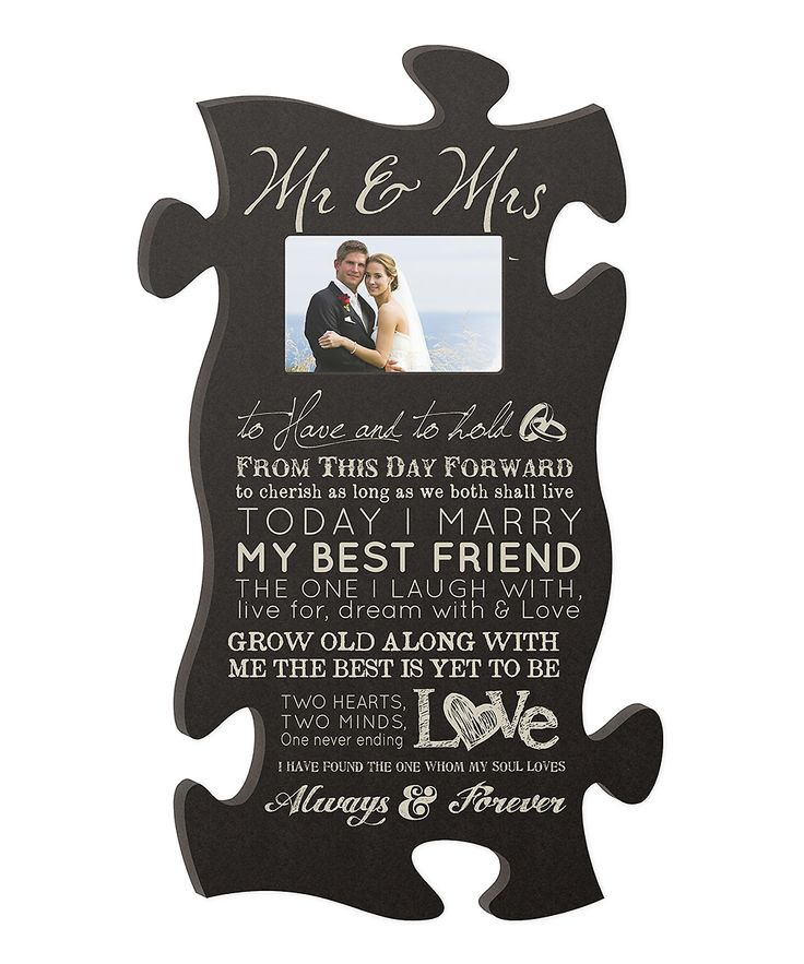 Cute Wedding Gift Ideas: 'Mr. & Mrs.' Puzzle Piece Photo Frame