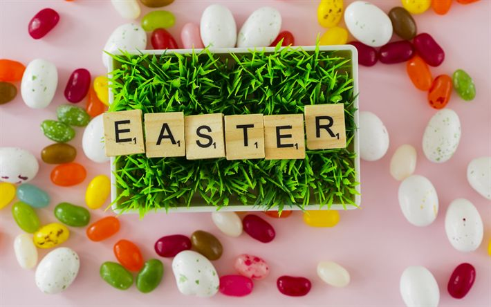 Download wallpapers Easter, spring decoration, green grass, concepts, sweets, Happy Easter