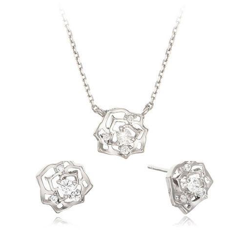 Swarovski Cristal Jewelry Rose Blare Earing Necklace Sets [E_0470,N_0420] #SwarovskiCristalShopKBeauty