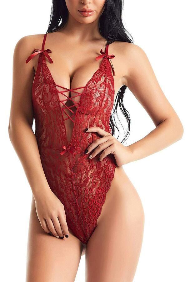 bea8143df Sexy Lingerie for Women Teddy One Piece Lace Babydoll Bodysuit Mesh  Sleepwear US Teddy Piece Women