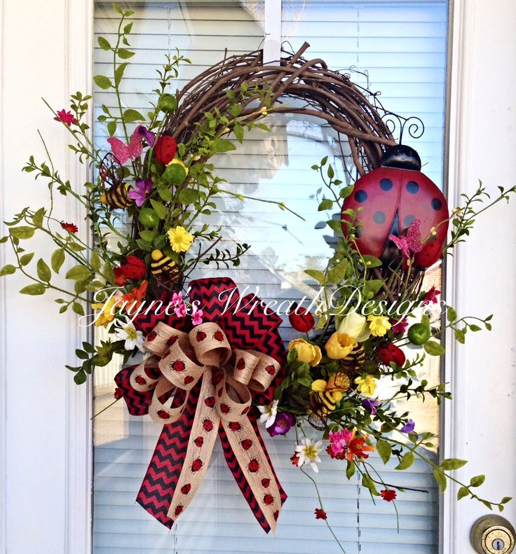 Spring and Summer Lady Bug Grapevine Wreath Jayne's wreath designs on FB and Instagram