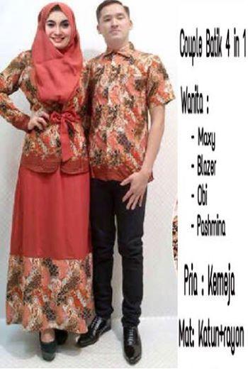 Deskripsi / Description :      Couple Batik Bata 4 in 1, Maxy + Blazer + Obi + Pashmina + Kemeja Pria, Bahan Katun + Rayon     Fit L     Harga : Rp. 245.000,-/pasang     Kode Produk / Product Code : CL2317
