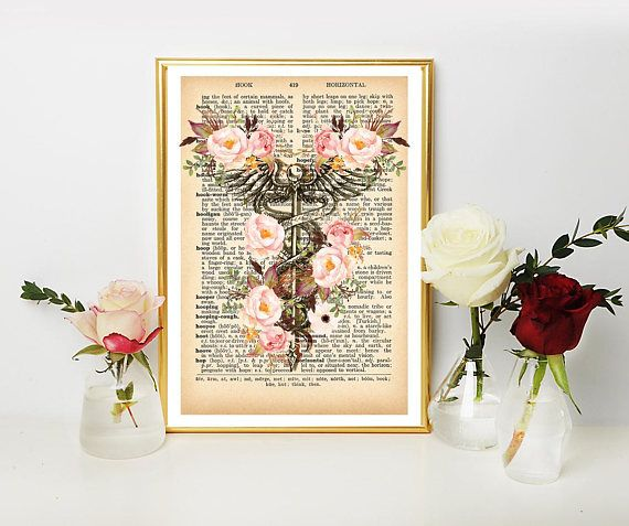 Medical Dictionary Art Poster Print on Vintage Dictionary Book
