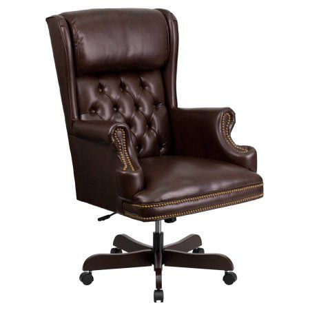 Flash Furniture High Back Traditional Tufted Leather Executive Swivel Office Chair, Multiple Colors, Brown