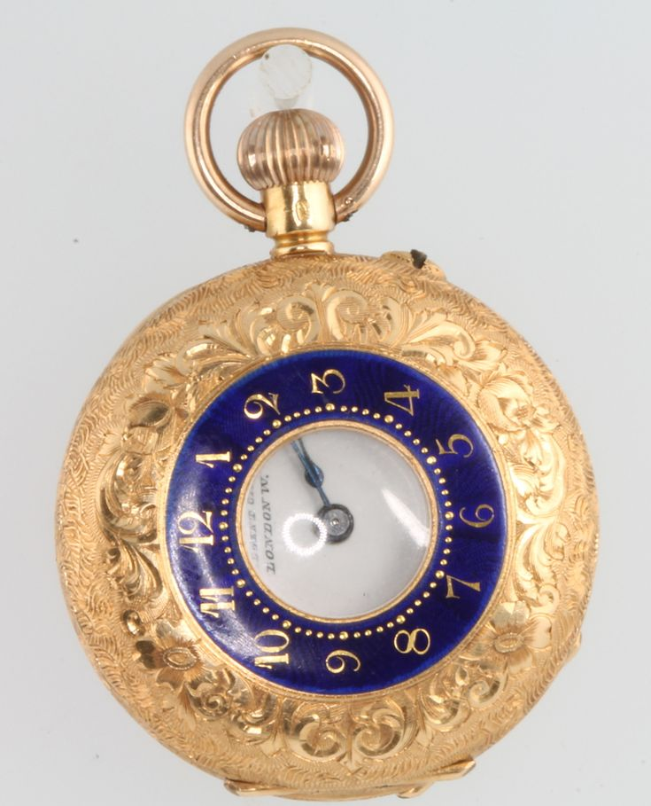 Lot 728, A lady's Edwardian 18ct yellow gold and enamel half hunter fob watch, the dial inscribed Walters and George, in a fitted case, est £200-300