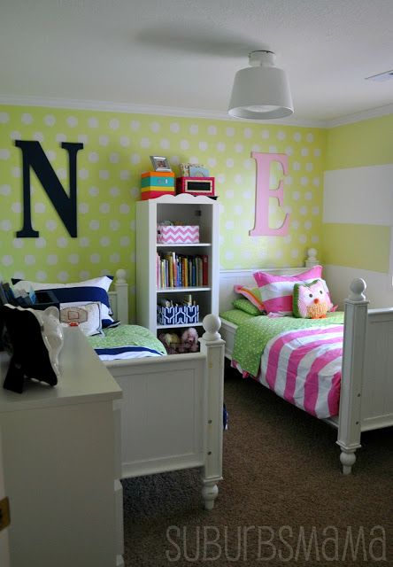 Suburbs Mama: Shared Kids Room Take #3 - sleeping room vs. playroom concept
