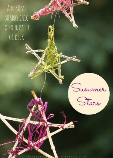 summer stars - twig ornaments - patio decoration
