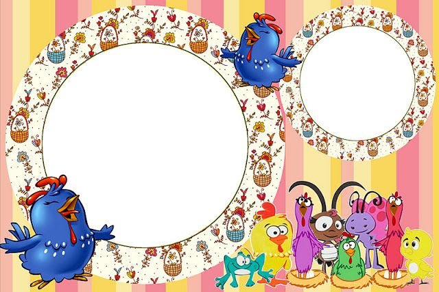 Pintadinha Курица с цветами и полосы - Полный комплект с кадрами для приглашений, этикеток для закусок, сувениров и фотографий Создание нашей партии