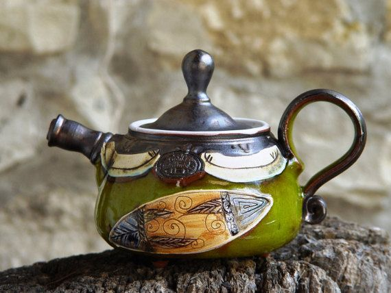 Teapot. Small Ceramic teapot. Handmade Tea Pot, Wheel Thrown Pottery teapot, Green teapot, Ceramic art, Bulgarian crafts