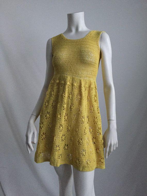60's/70's Boho Hippie Chic Bright Yellow Crochet Mini Dress