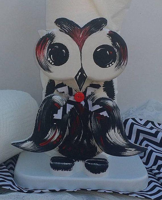 Owl Paper Towel Holder Wooden Owl Kitchen by ApronStringsOwlLady