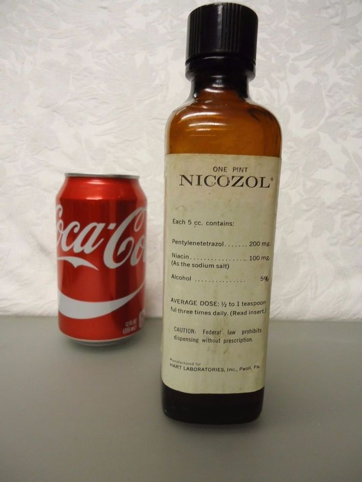 Nicozol Pentylenetetrazol Vintage Empty medicine Bottle 1 pint Hart Labs