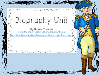 This biography unit is designed to go with any biography or autobiography you are reading. You can use it with a whole-class book, guided reading groups, independent reading. It works perfectly in a reading workshop! The unit includes:*genre lesson*retelling lesson*cause and effect lesson*inferring author's opinion lesson*a book study booklet*interactive journal pages*graphic organizers*vocabulary activity pages*performance assessment