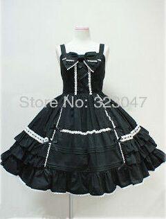 Custom Made Black Braces Skirt Cotton Sweet Lolita Dress Costume Free Shipping