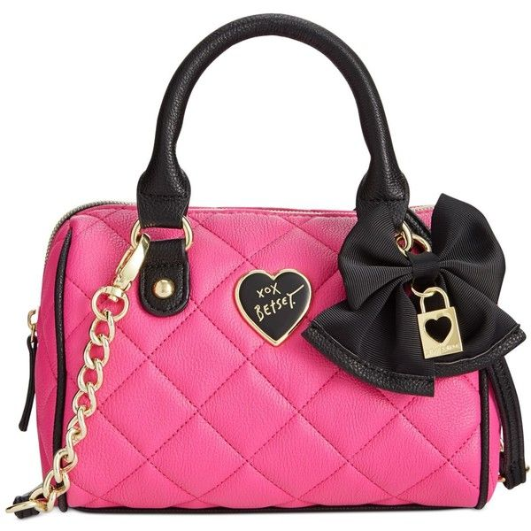 Betsey Johnson Mini Crossbody (79 AUD) ❤ liked on Polyvore featuring bags, handbags, shoulder bags, purses, fuchsia, quilted shoulder bag, mini crossbody, pink crossbody purse, crossbody shoulder bags and pink purse