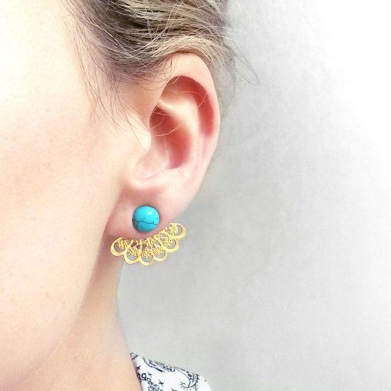Vestes d'oreille turquoise lotus | Boucles d'oreilles dentelle Boho menthe | Veste indienne d'oreille en filigrane | Boucles d'oreilles convertible oriental menthe or turquoise