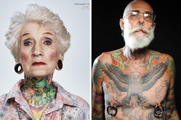 """24 Ancianos con tatuajes responden a la pregunta: """"¿Cómo te verás dentro de 40 años?"""""""