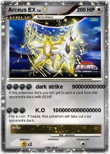 Pokemon ex pok mon arceus ex 180 180 dark strike 90000000000 my pokemon card ex 39 s - Pokemon arceus ex ...