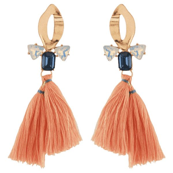 Alloy Hollow Out Faux Crystal Tassel Decorated Drop Earrings Golden (32,625 KRW) ❤ liked on Polyvore featuring jewelry, zaful, drop earrings, golden earring, imitation earrings, golden jewelry and imitation jewellery