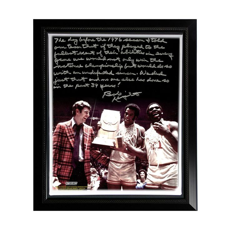 "Steiner Sports Indiana Hoosiers Bob Knight Undefeated Season Facsimile 22"" x 26"" Framed Stretched Story Canvas, Multicolor"