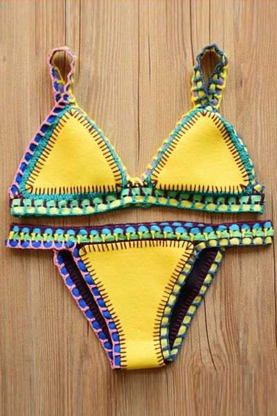 Color Block Spaghetti Strap Bikini Set YELLOW: Bikinis | ZAFUL