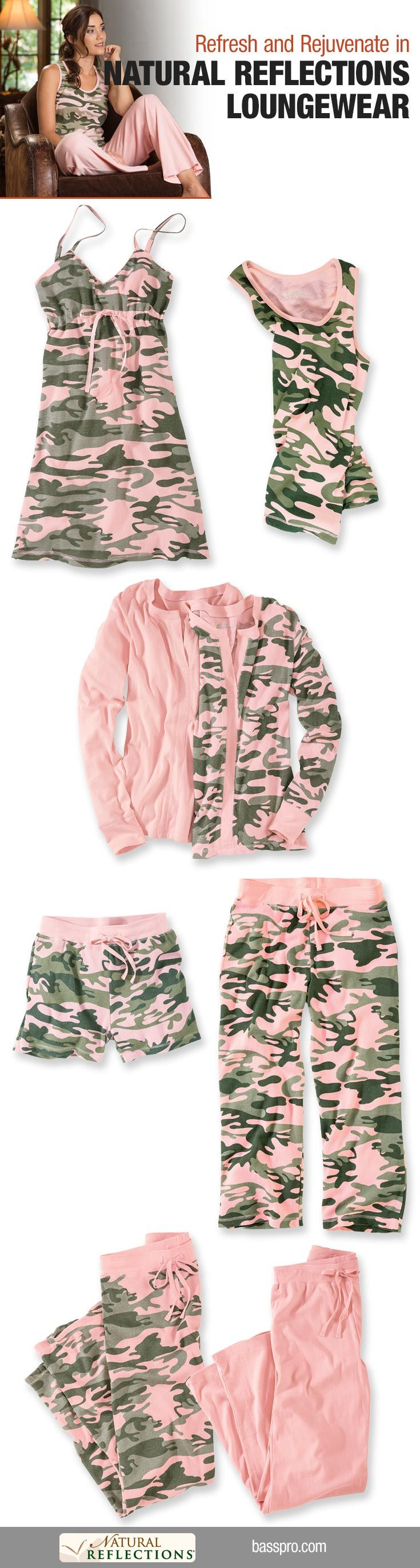 Refresh and rejuvenate in #naturalreflections #loungewear. #pinkcamo