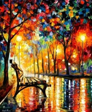 ColorsLeonidafremov, Parks Benches, Beautiful, Central Parks, Art, Vibrant Colors, Leonid Afremov, Painting, Bright Colors