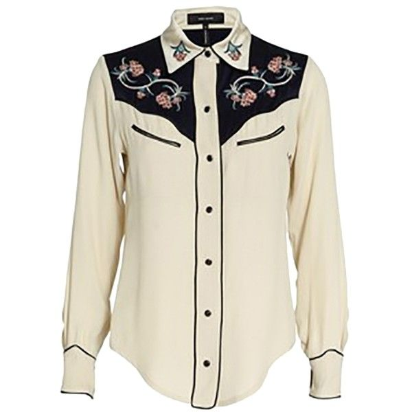 Pre-owned Isabel Marant Lauryn Embroidered Western Button Down Shirt ($280) ❤ liked on Polyvore featuring tops, none, button up shirts, cowboy shirt, embroidered shirts, western shirt and embroidered cowboy shirt