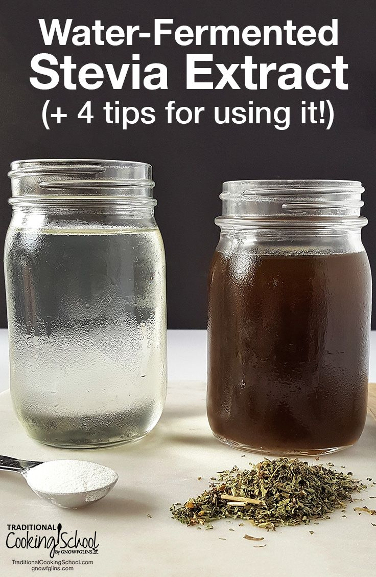 Water-Fermented Stevia Extract (+ 4 tips for using it!) | When refined sugar is out and whole sweeteners cause blood sugar issues, what else is there? Try this water-fermented stevia extract! It's economical, unprocessed, and ideal for Trim Healthy Mamas. Learn how to make it, plus 4 tips for using it! | TraditionalCookingSchool.com