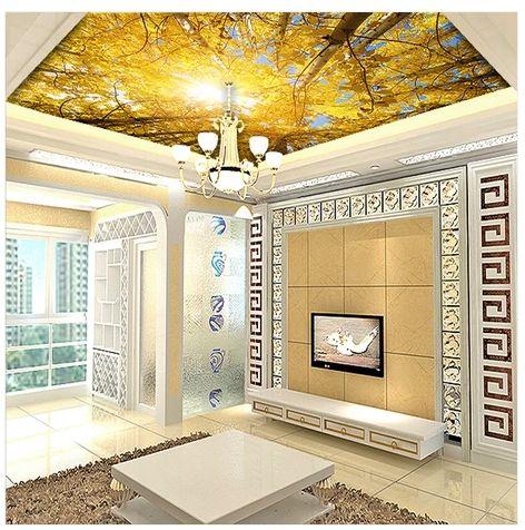Gratis verzending plafond muurschildering wallpaper voor woonkamer slaapkamer behang plafond wallpapers rijke gouden herfst wallpaper Modern