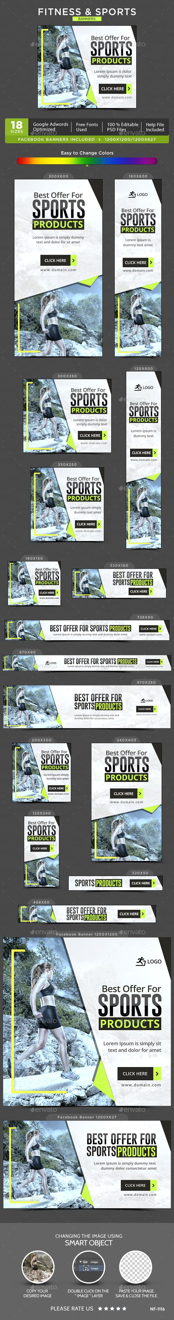 Fitness & Sports Web Banners Template PSD. Download here: http://graphicriver.net/item/fitness-sports-banners/15023451?ref=ksioks