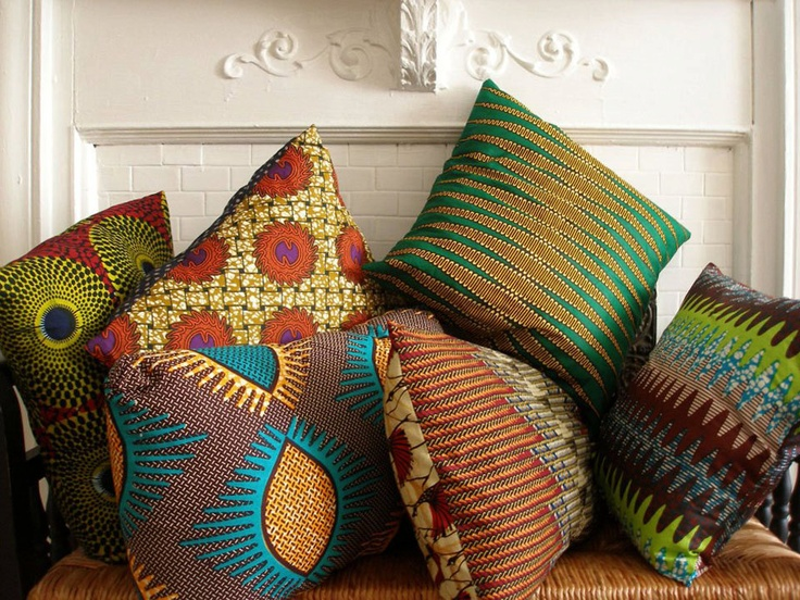 AFRICAN Wax Print Pillow covers (18x180 via Etsy.