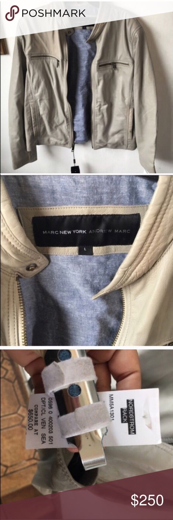 Andrew Marc Leather Bomber Jacket Size Large Andrew Marc Leather Bomber Jacket Size Large, new with tags. Retail $650🌟 in Grey Color 🌟Offers Welcomed Andrew Marc Jackets & Coats