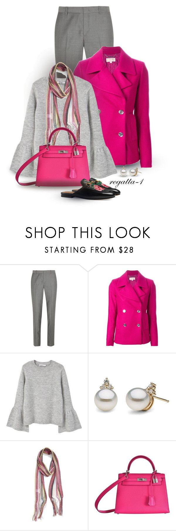 """Gray and Pink"" by regatta-1 ❤ liked on Polyvore featuring Joseph, MICHAEL Michael Kors, MANGO, Collection XIIX, Hermès, Gucci, Pink, gray and polyvoreeditorial"