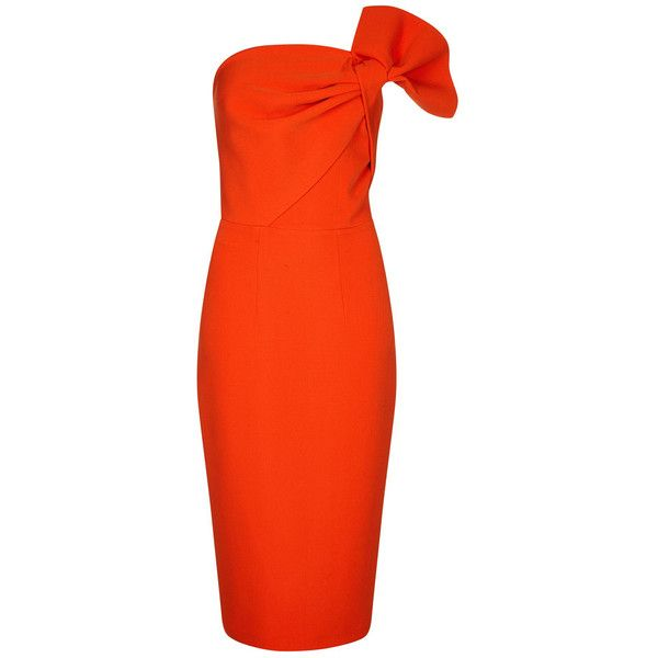 Safiyaa Revanna Strapless Dress ($893) ❤ liked on Polyvore featuring dresses, red, form fitting dresses, figure hugging dresses, red strapless dress, red dress and strapless dresses