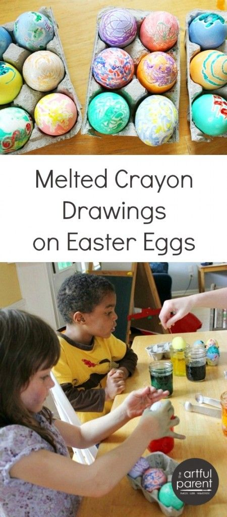 Melted crayon Easter eggs with friends