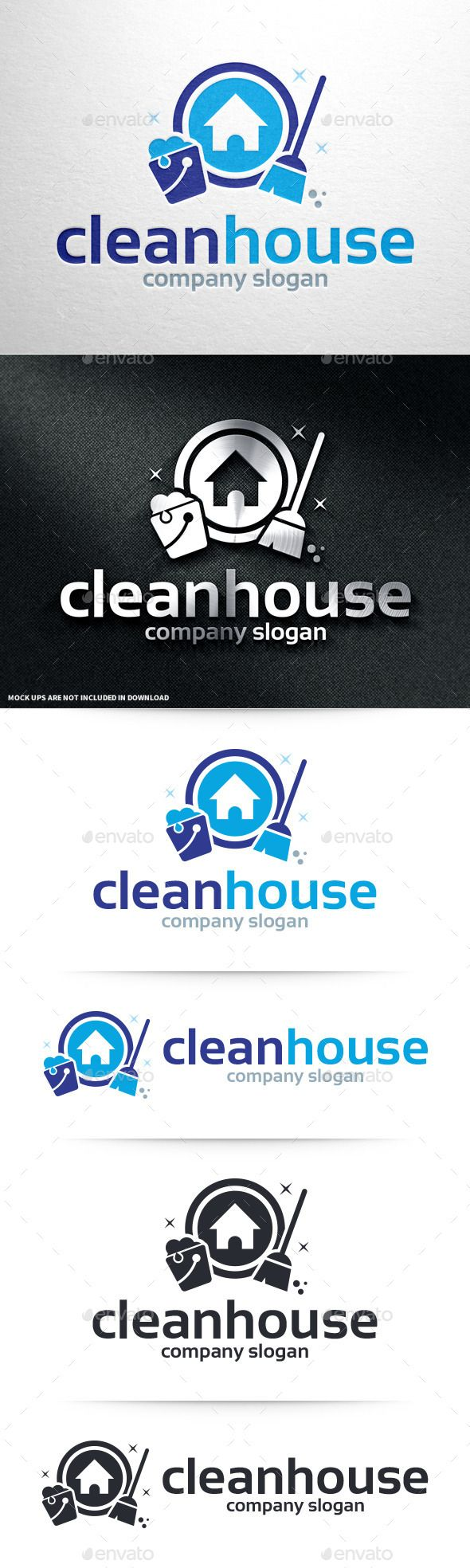 Clean House  - Logo Design Template Vector #logotype Download it here: http://graphicriver.net/item/clean-house-logo-template/10995180?s_rank=423?ref=nesto