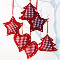 Red Gingham Christmas Decoration