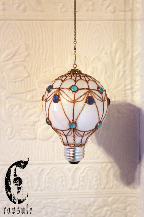 35.00$ Decorative Ornament Stained Upcycled Glass Light Bulb French Hot Air Balloon with blue Beads Holiday Christmas https://www.etsy.com/ca/listing/212043354
