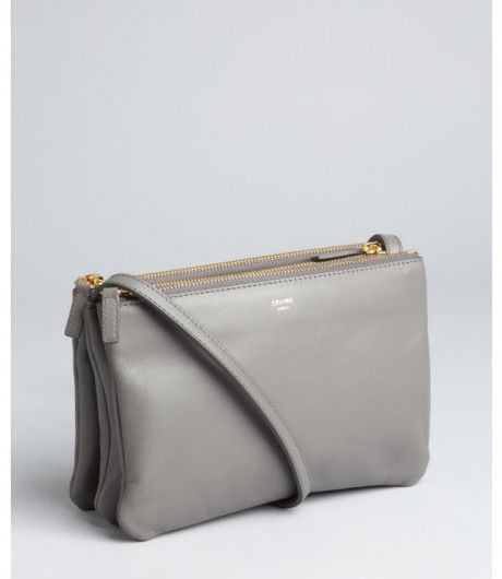 celine purse replica - celine grey leather clutch bag trio