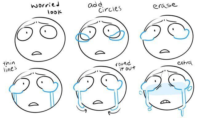 how to draw a girl crying step by step