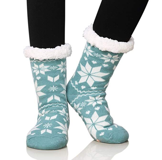Women Soft Socks Thicken Knit Fleece Lined Thermal Fuzzy Slipper Socks Nonskid