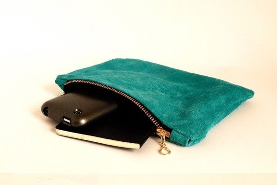 leather mini clutch in aqua blue