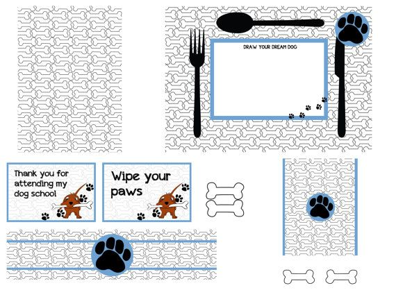 Dog themed party package by ezontho on Etsy, €11.00