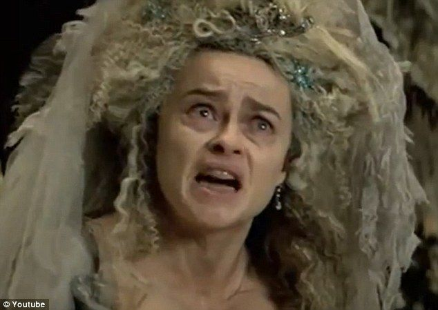Scary sight: Helena Bonham Carter appears haggard as Miss Havisham in Mike Newell's adaptation of the Charles Dickens story
